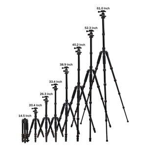 Image 4 - Walkingway الألومنيوم بروتابلي Q666 المهنية السفر كاميرا ترايبود Monopod الكرة رئيس و حامل هاتف ل DSLR الهاتف الذكي فيديو