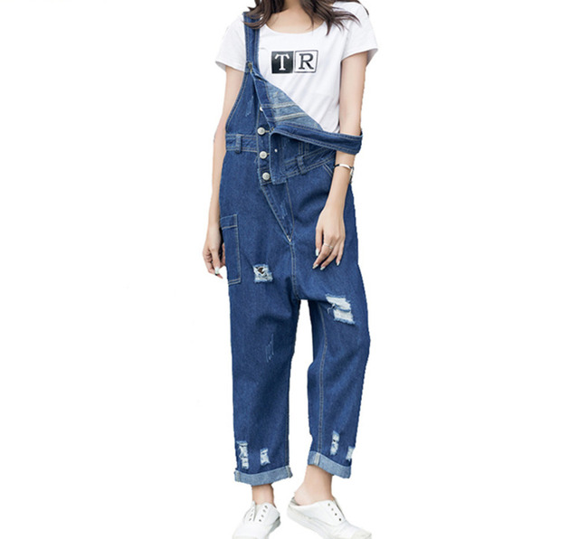 30b02842bd7a Womens loose holes ripped denim bib overalls Casual distressed wide leg Suspenders  jeans Female Baggy denim Jumpsuit A72702