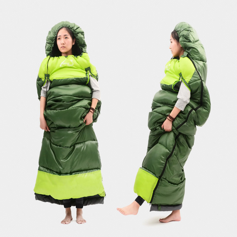 Outdoor Terylene One Person Waterproof Breathable Lightweight Thicken Envelope Type Sleeping Bag For Camping Home Self driving