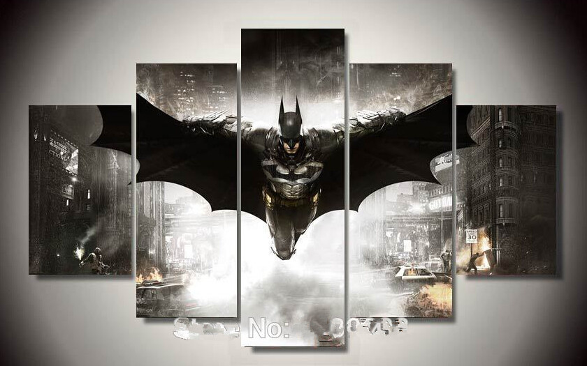 Framed Printed Batman Movie Poster 5 piece painting wall art childrenu0027s room decor poster canvas Free shipping-in Painting u0026 Calligraphy from Home u0026 Garden ... & Framed Printed Batman Movie Poster 5 piece painting wall art ...