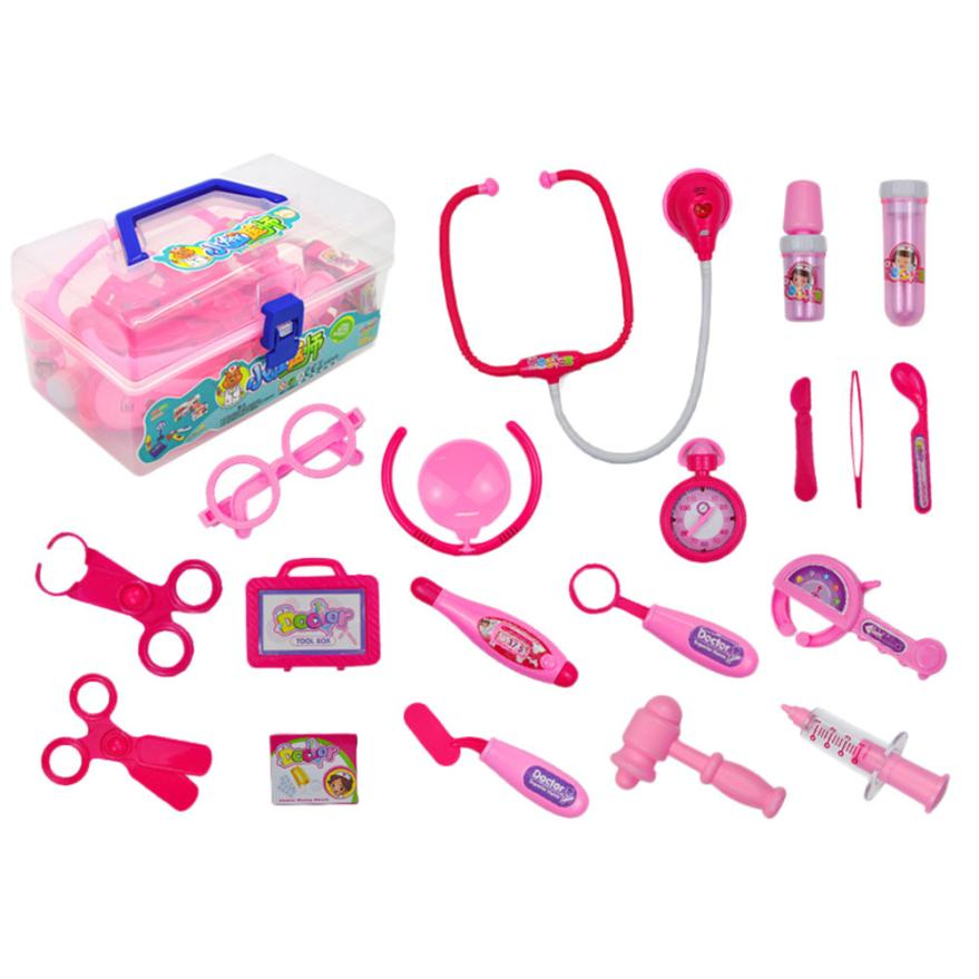 2018 new arrival 18PCS Kids Childrens Role Play Doctor Nurses Toy Medical Set Kit Gift Hard Case hot sale Toy Apr 19