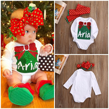 Merry Xmas Newborn Baby Girls Cotton Sweet Tie Print Long Sleeve Bodysuit Jumpsuit Dot Headband Outfits Set Christmas Gift