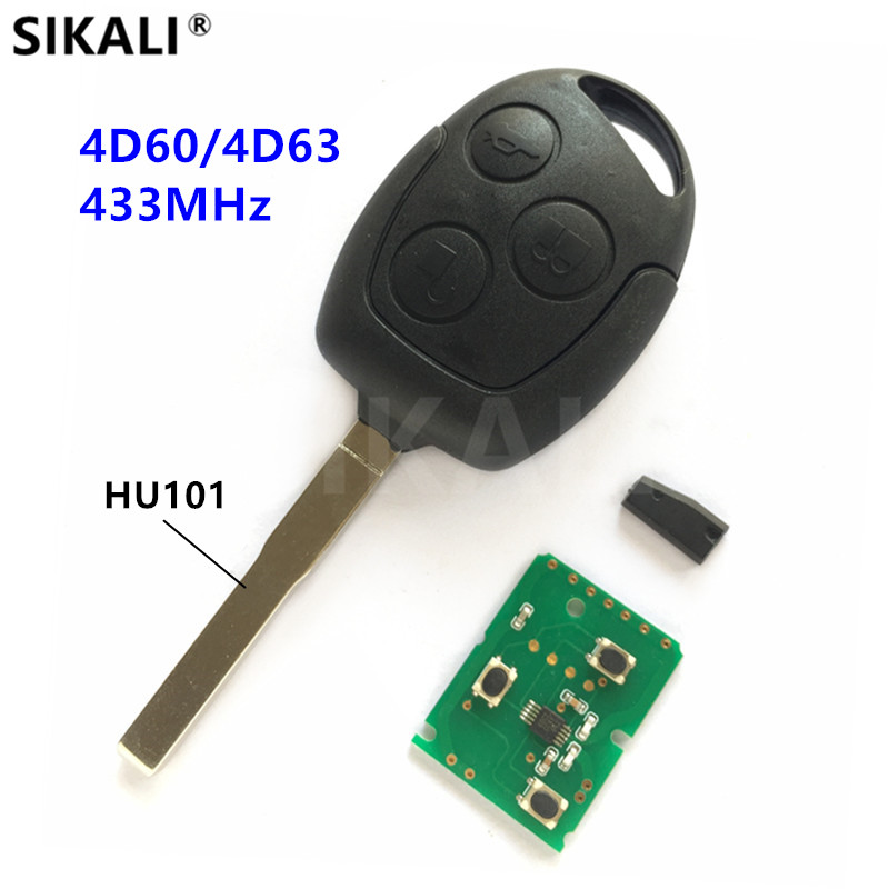 Car Remote Key DIY for Ford C-Max D-Max Fusion S-Max Focus Mondeo Fiesta Galaxy KA, 4D60 or 4D63 Chip, 433MHz, HU101 Blade