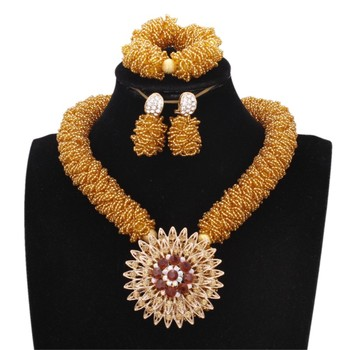 4UJewelry African Choker Sets Crystal Pendant Necklace Gold Color With Big Flower Pin Nigerian Bridal Jewelry Sets Free Shipping