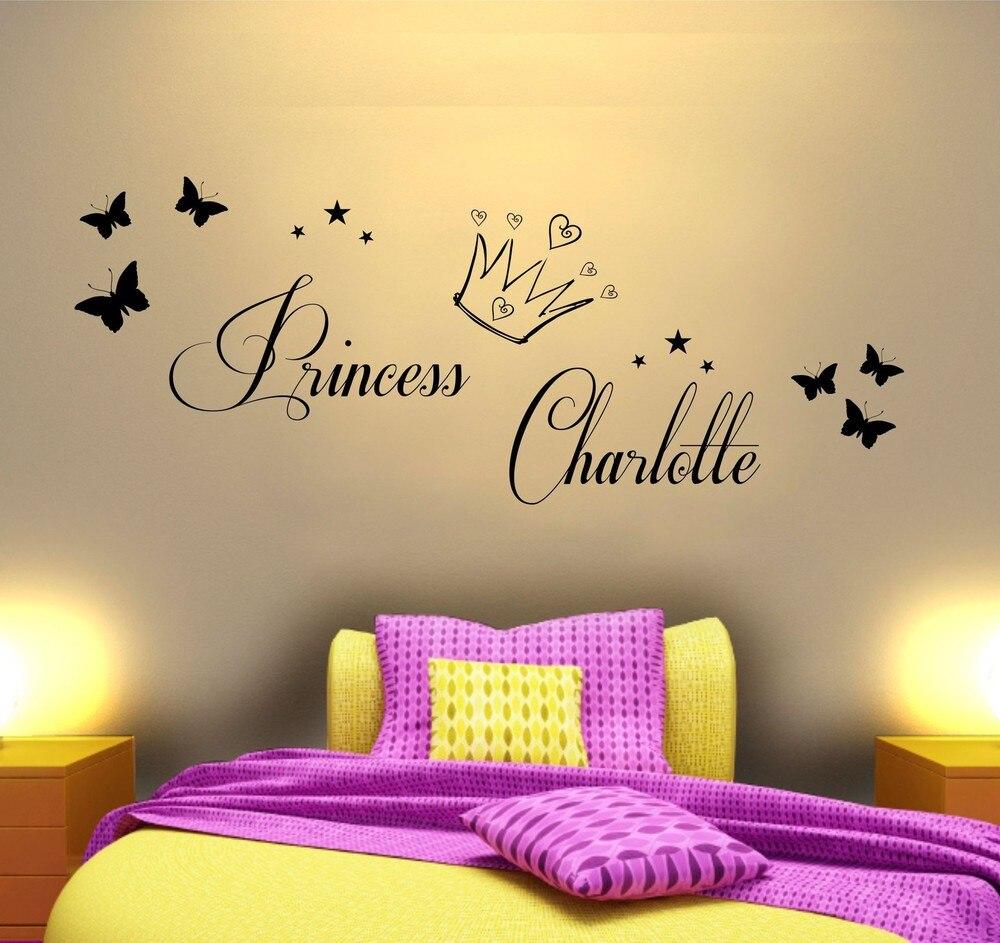 Personalised Princess Vinyl Wall Art Sticker Girls Bedroom Mural Any ...