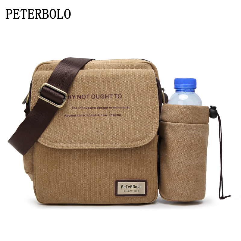 PETERBOLO Canvas Shoulder Bag Fashion Men Crossbody Bags Special combined deformation Messenger Bag