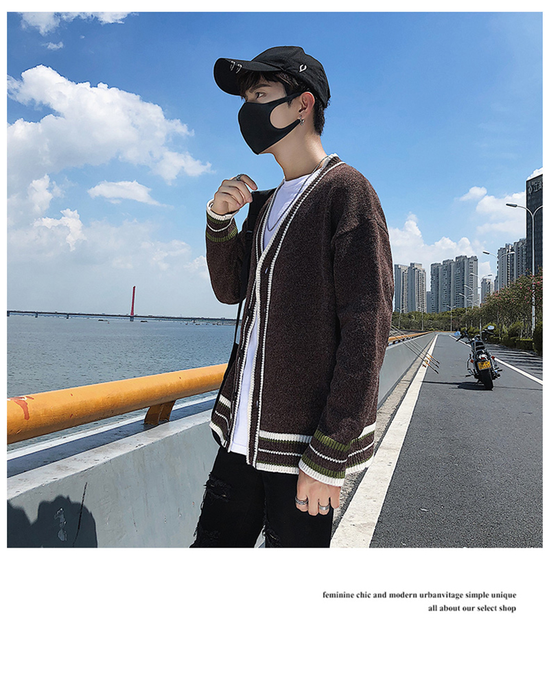 Check Button Cardigan Male Oversize Loose Streetwear (27)