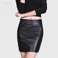 Office style black genuine leather sheepskin lamb mini pencil skirt saia de couro faldas mujer jupe femme etek LT1514 Free Ship