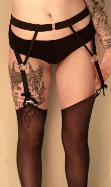 2016 new fashion pastel goth garter belt leg bust bondage  Rave wear Binding sexy women cage bondage lingerie black retail