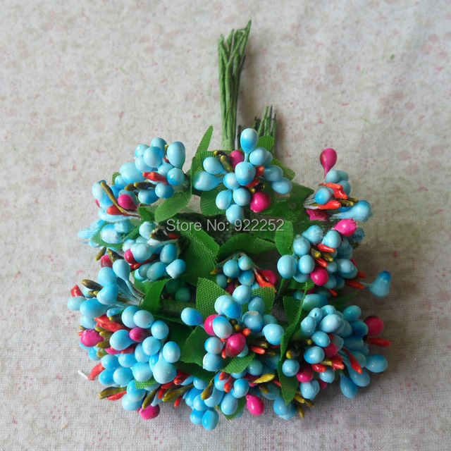 100Branches/lot,artificial Pearl fruits With green leaves for wedding decor accessories&candy box diy craft flower decoration!