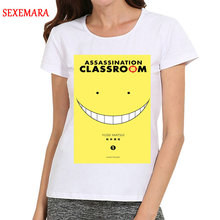 New Women White Color Cartoon Assassination Classroom T-Shirt Short Girls Korosensei Top Tees tshirt For Ladies