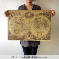Vintage1641 Old Nautical MapPoster Bar Cafe Home Decoration Detailed Antique Poster Wall Chart Retro Paper Matte Kraft Paper