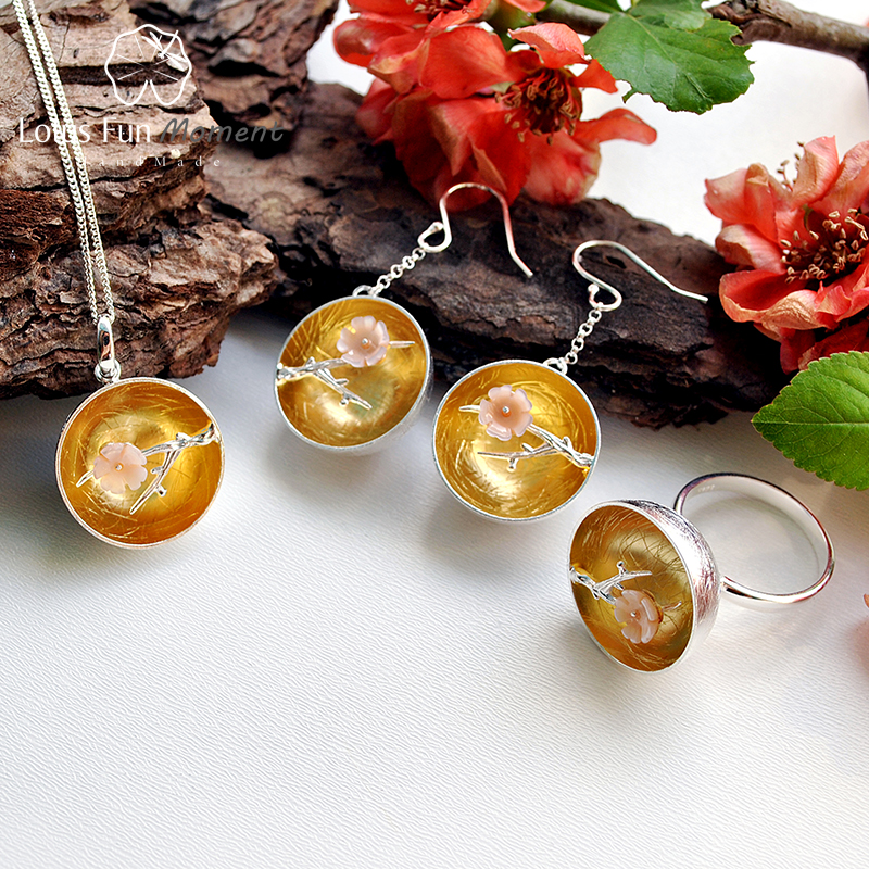 Lotus Fun Moment Real 925 Sterling Silver Natural Shell Handmade Fashion The Aroma of Wintersweet Jewelry Set for Women Brinco lotus fun real 925 sterling silver natural handmade fine jewelry flower the aroma of wintersweet jewelry set for women bijoux