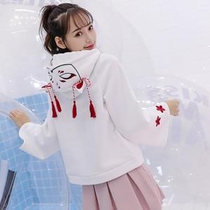 Image 3 - Merry Pretty Women Harajuku Embroidery Hooded Sweatshirts Long Sleeve Black White Drawstring Hoodies 2020 Sweet Girls Pullovers