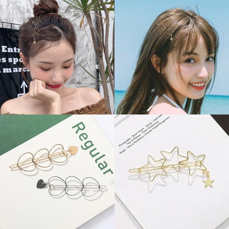 Ruoshui Alloy Star Moon Hairpins Woman Hair Accessories Girls Hair Clips Metal Geometric Barrettes Brooch Hairgrip   Headwear