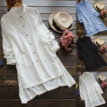 Camisa de Frauen Sommer Solide vestido de moda botones asimétricos dobladillo V-Ausschnitt Blusen perder TopS Tunika Hemd Kleid talla grande