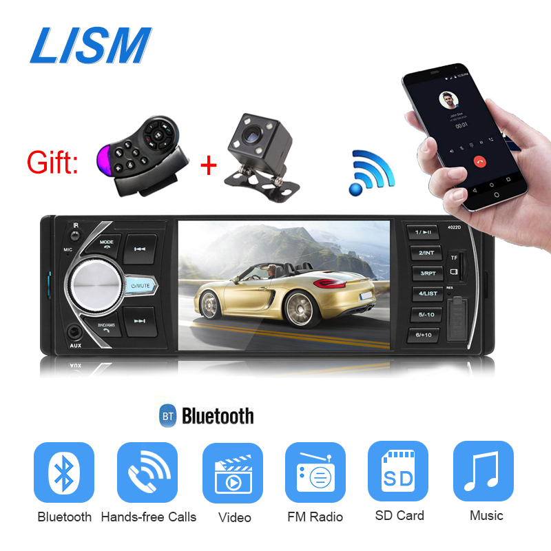 Лмзс 1 Дин радио MP5/MP3 плеер Bluetooth Стерео Авторадио HD видео FM USB TF AUX удаленного управление заднего вида Камера 4022D