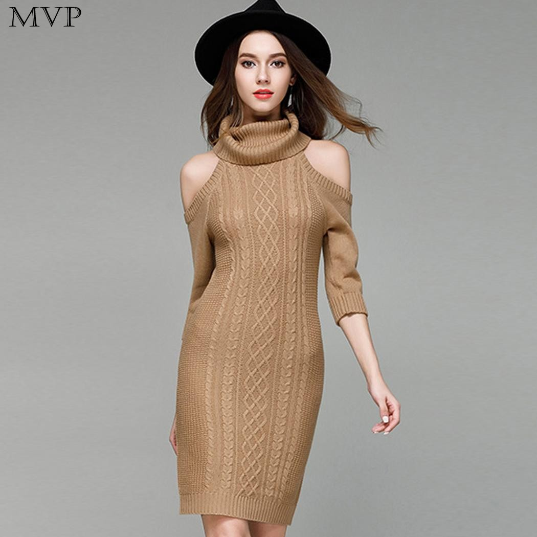 Winter Dress Women vestidos 2017 Turtleneck Cold Shoulder Sleeve Knitted Sweater Pencil Bodycon Dress Pullovers Party Dresses