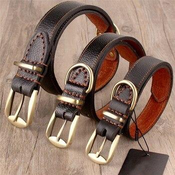 Bruin Authentieke Koeienhuid Halsband Echte Harde Lederen Kraag Hals Gesp Voor Kleine Medium Grote Honden Boxer Bulldog SLXL