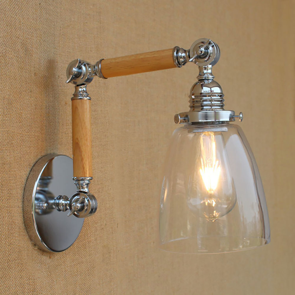 Wood glass shade adjustable swing arm industrial Vintage wall lamp e27 led modern light decorative for bedroom living room bar