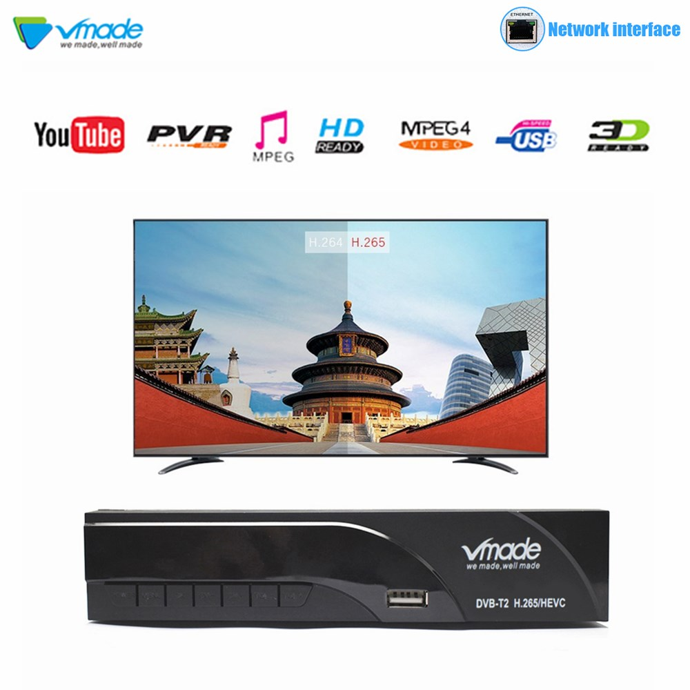 Vmade New DVB T2 K6 HD 1080P H.265 Digital Terrestrial Receiver Built RJ45 Standard Set Top Box Support Youtube PVR Dolby AC3-in Satellite TV Receiver from Consumer Electronics