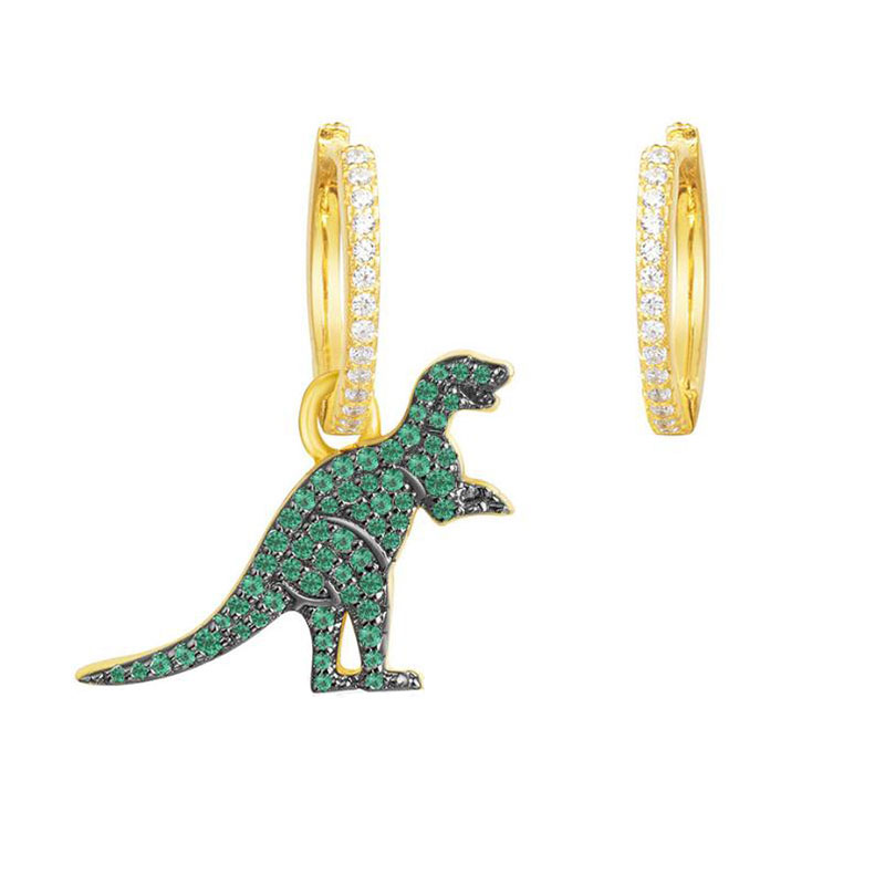 SLJELY Fine Jewelry 925 Sterling Silver Asymmetric Mini Green Pink Yellow Dinosaur AB Earrings Micro Zircon Monaco Women Jewelry