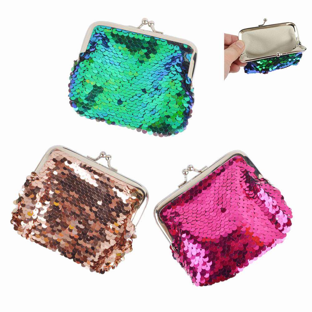 1PC Fashion Bag Accessories Double Color Sequins Glitter Mini Black Clutch Buckle Bolsa Women Girl Change Money Coin Purse double buckle glitter backpack