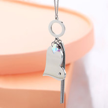 Stainless Steel Big Heart Pendant Necklace For Women Love Crystal Charms Animal Long Tassel Accessory Trendy Jewelry