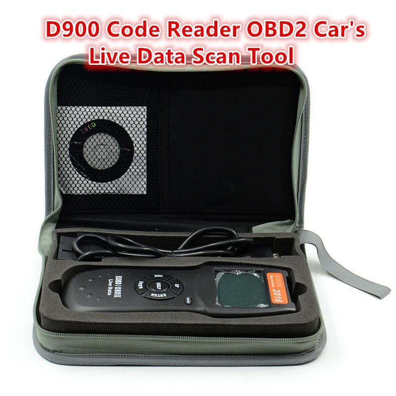 Prix pour OBDII EOBD Universel D900 Lecteur de Code OBD2 Scanner Version 2015 Dernière CAN-BUS Données En Direct DTC OBD Vérifier Moteur Multi-Voitures de marque