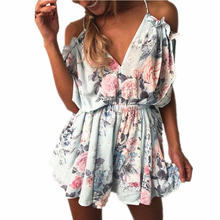 Heyouthoney gedrukt Rompertjes Vrouwen ruche Jumpsuit Off Shoulder Speelpakjes Backless spaghettibandjes Beach Bodysuit korte overalls(China)