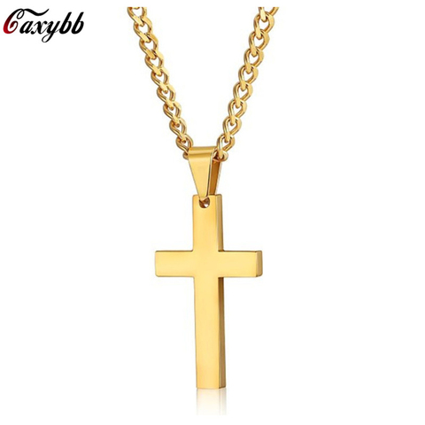 New Cross Necklaces & Pendants For Men Stainless Steel Gold Colour Male Pendant Necklaces Prayer Jewelry Friend Gift Pakistan
