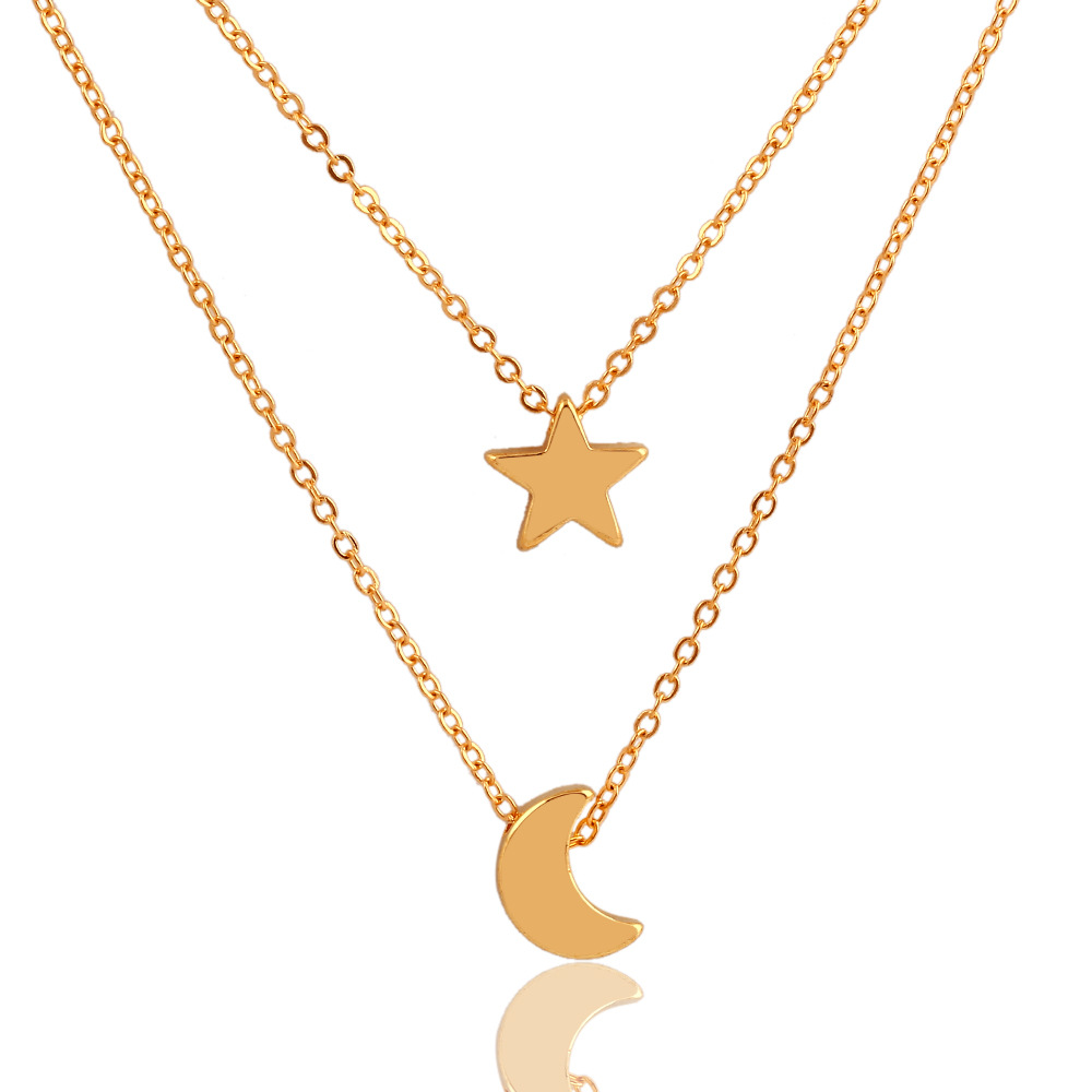 Gold stars moon pendants necklaces for women double chain necklace gold stars moon pendants necklaces for women double chain necklace fashion simple jewelry accessories statement charm choker in pendant necklaces from aloadofball Images