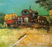 Encampment of Gypsies with Caravans by Vincent Van Gogh Handpainted
