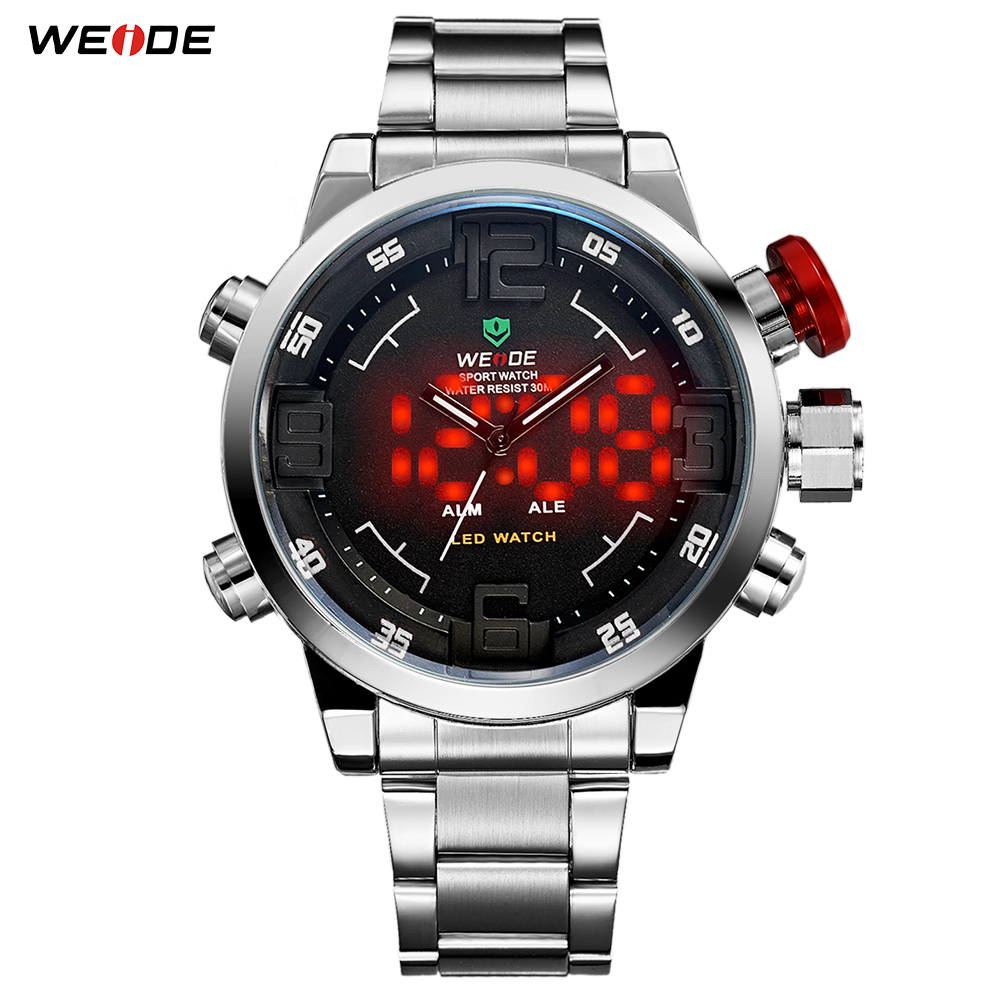 WEIDE Luxury Silver Metal Case Bracelet Belt Male Quartz Digital Numeral Led Dual Alarm Fashion Casual Clock Relogio Masculino