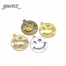 YuenZ 10pcs 5 color Antique Silver Smiley face Charms Pendant DIY Handmade Jewelry Accessories 22*19mm I120(China)