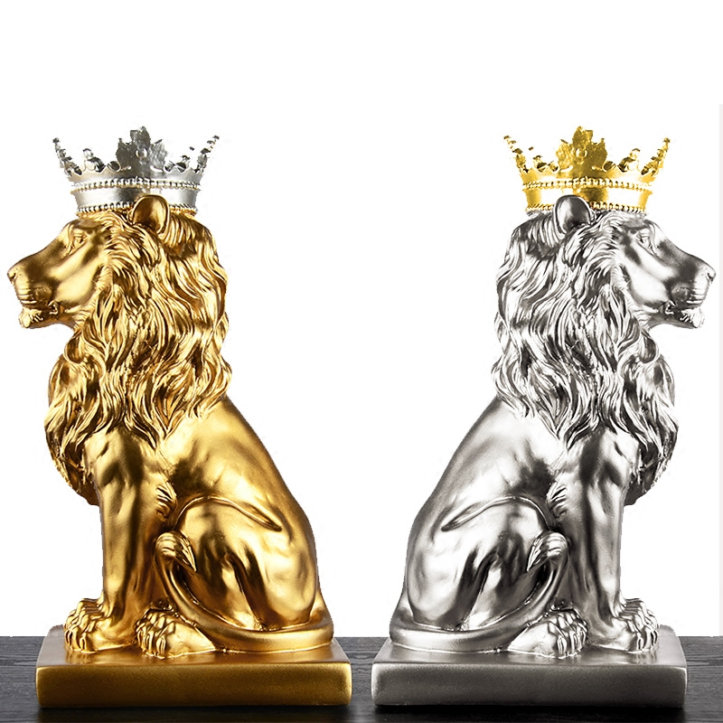 Modern Creative Wearing A Crown Gold Lion Vintage Statue Home Decor Crafts Room Decoration Objects Office Resin Figurines