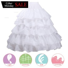 Doragrace 6 Layers Wedding Ball Gown Petticoat Skirt 4 Hoops Slip Crinoline Underskirt