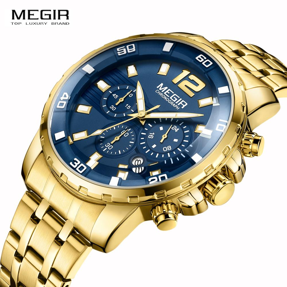 MEGIR Chronograph Quartz Watch Men's de luxo Wrist Watches Clock Male Stainless steel band Business Wrist watch Luxury цена