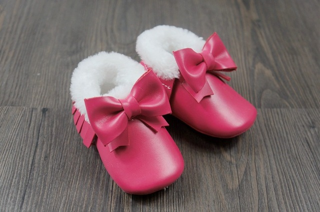 Fashion winter Snow Environmental Organic Fibers Leather Cute Bow Baby Boys Girls Toddler Soft Sole Infant Kids Moccasins Shoes