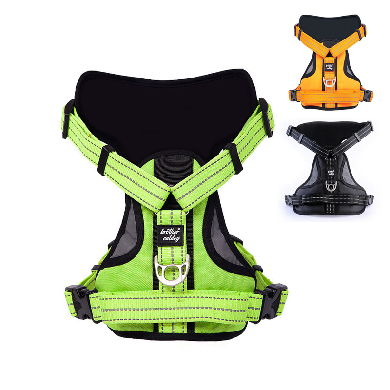 Reflekterande Stor Hund Harness Stark Djur Träning Walk Out Harness Vest Stor Hund Snabb Halsband Set Soft Dog Harness 35S2