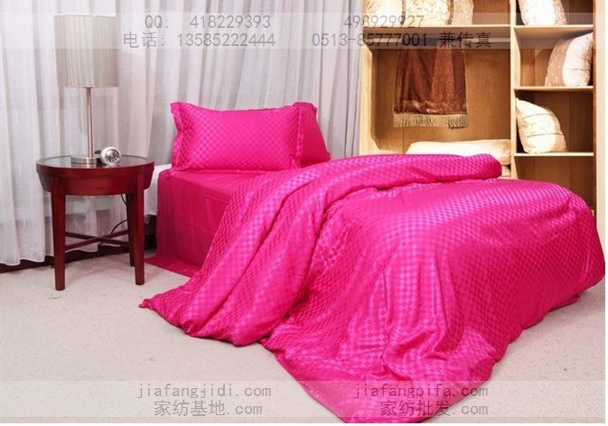 Luxury Hot pink plaid silk bedding sets queen king size