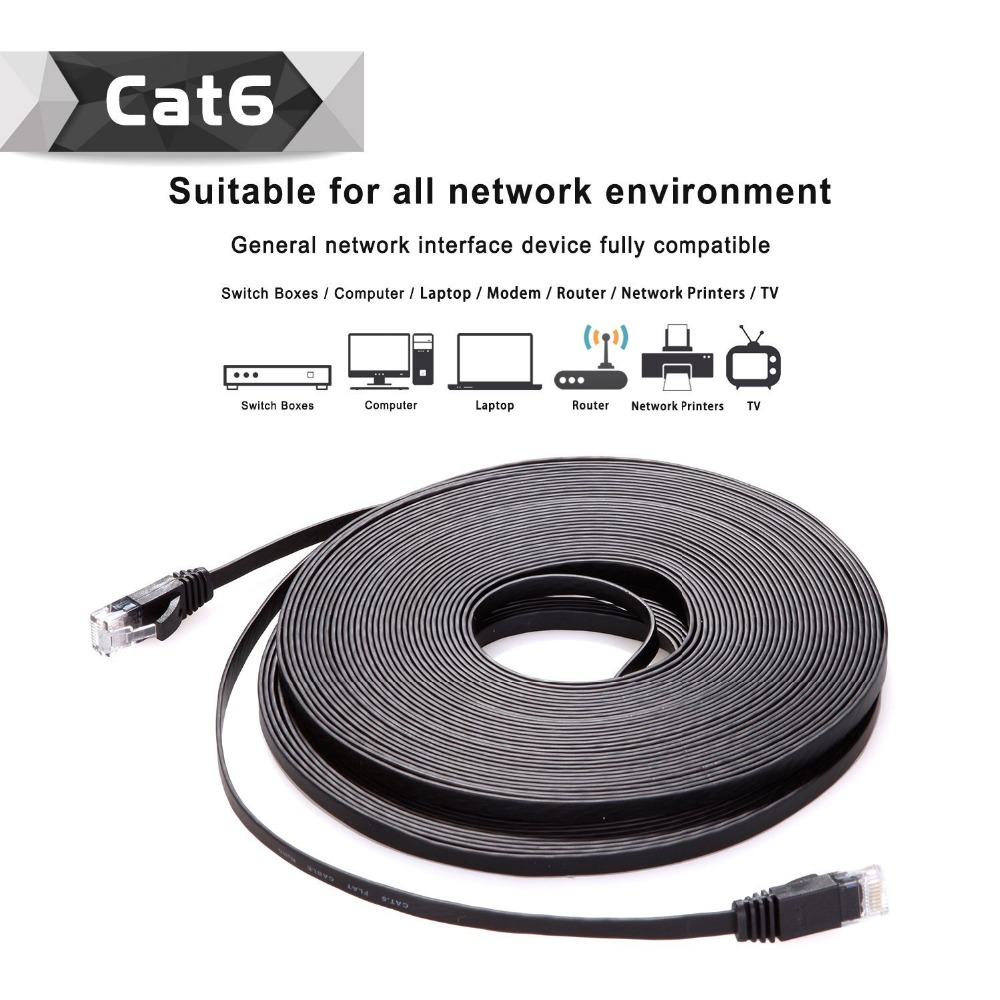 10pack 15m 50FT cable CAT6 Flat UTP Ethernet Network Cable RJ45 Patch LAN cable