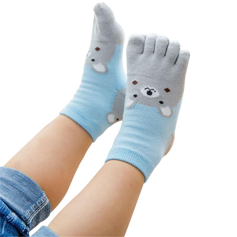 New Design Cute Cartoon Bear Five Toes Socks Kids Socks Girl Boy Children Hosiery Five Fingers Socks Mesh Breathable Foot Socks