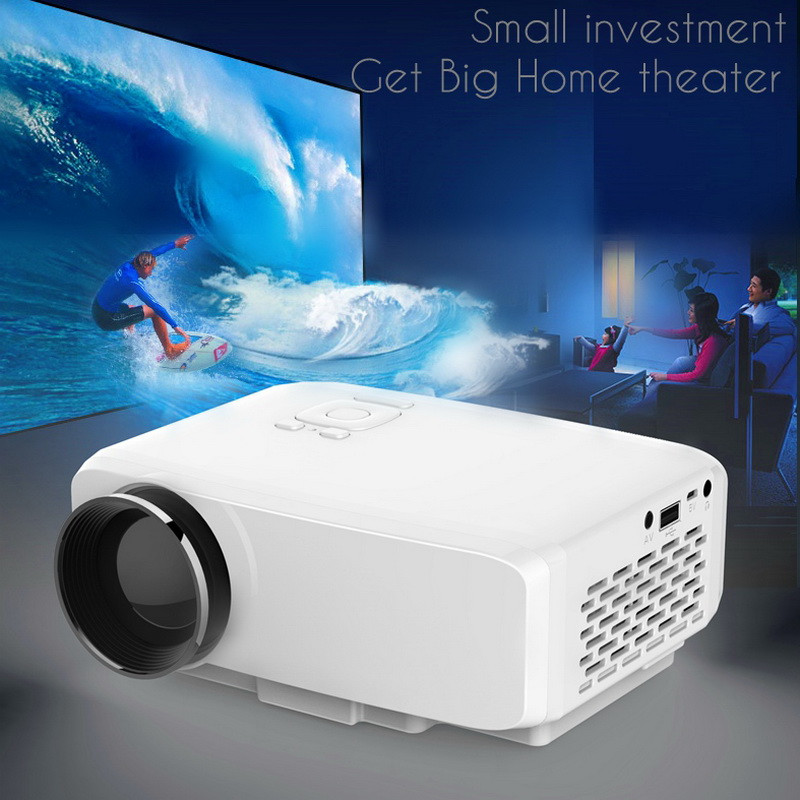 ФОТО 120inch Mini Portable Easy Micro TV Projector with LED Lamp TFT-LCD Panel Games Home Theatre Beamer EMP 4K GP9S Full HD 1080P
