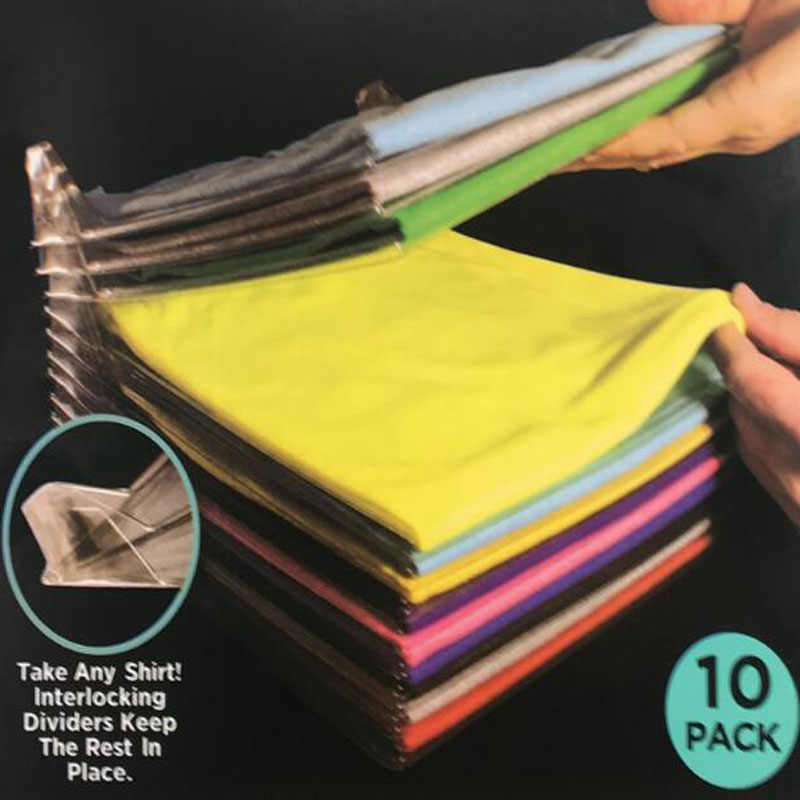 10 Layer Fast Clothes Fold Board Clothing Organization System Shirt Folder Travel Closet Drawer Stack Household Closet Organizer