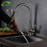 Deck Mounted Kichen Sink Faucet Pull Out Dual Function Sprayer Hot And Cold Tap Single Level