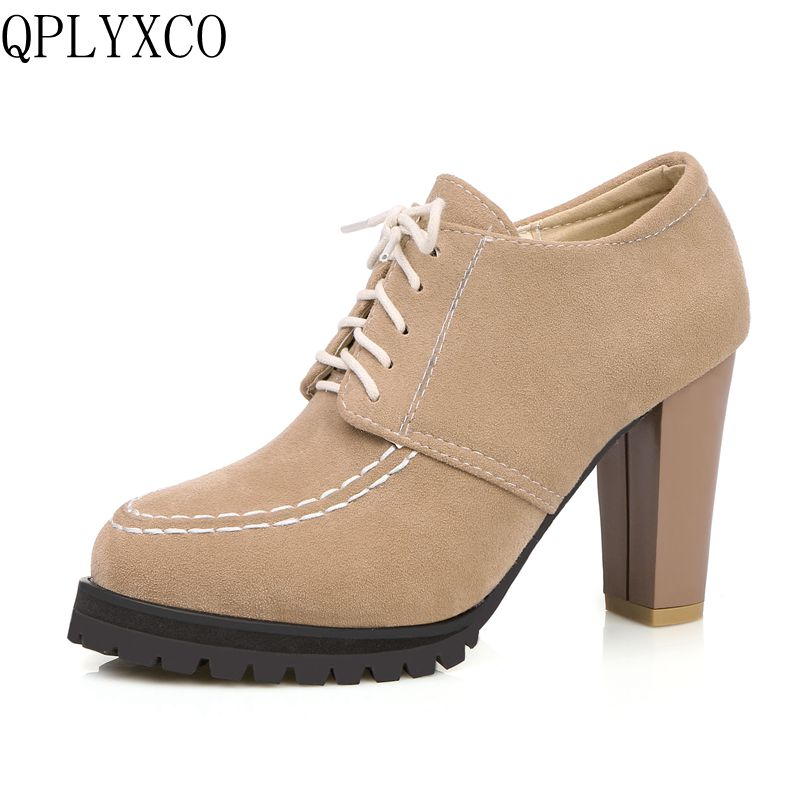 QPLYXCO New big size 32-45 women shoes high heels (9cm) sapato feminino lace up platform shoes woman zapatos mujer casual C213 women genuine leather shoes for mother loafers new casual oxfords plus size soft comfortable flats sapato feminino zapatos mujer