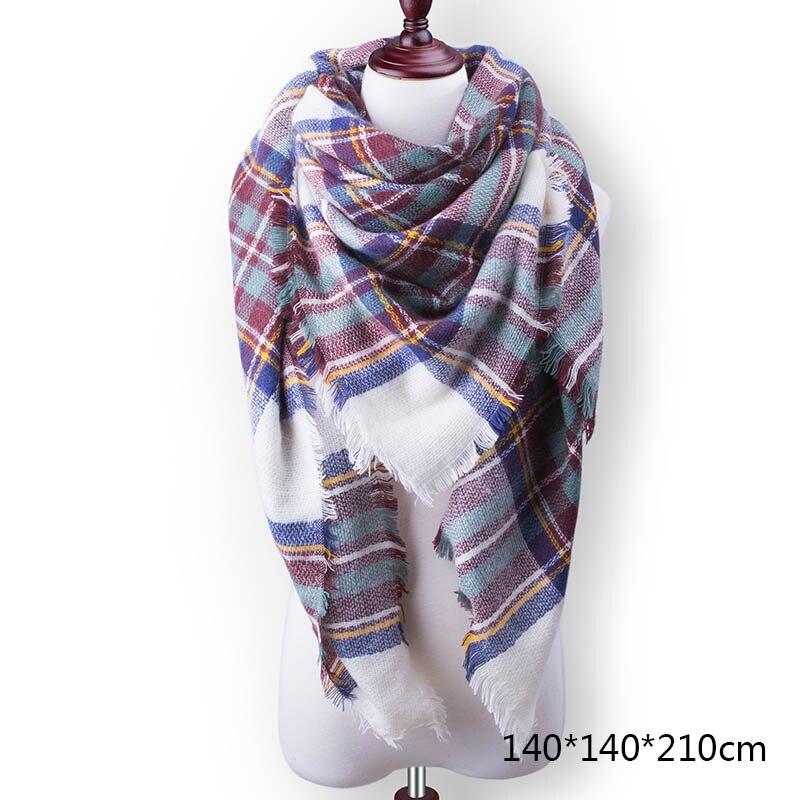 Горячая Распродажа, Модный зимний шарф, Женские повседневные шарфы, Дамское Клетчатое одеяло, кашемировый треугольный шарф,, Прямая поставка - Цвет: A3