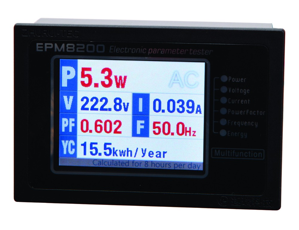 EPM8200 LCD TFT digitális egyfázisú váltakozó áramú energia számológép / teljesítménymérő / teljesítménymérő / 1000w / 4A / 220v