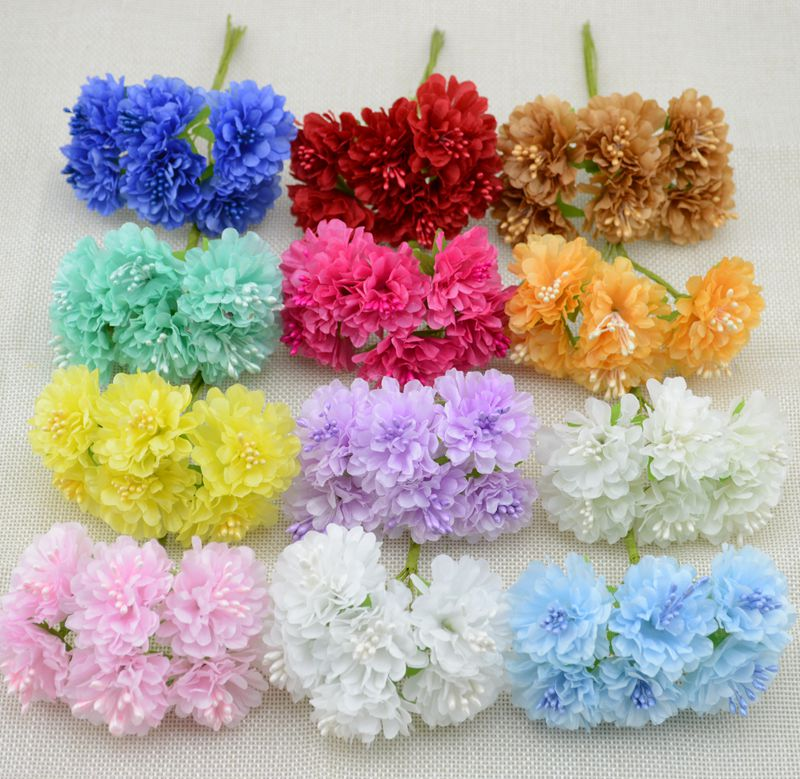6 pcs/lot free shipping Silk artificial Stamen Bud Bouquet flower for home Garden wedding Car corsage decoration crafts plants